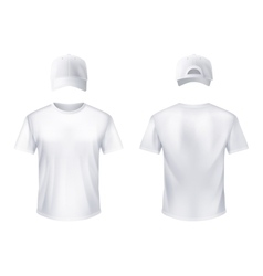 Whitet-shirtt baseball cap man realistic vector