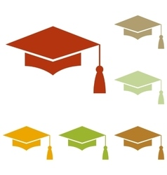 Mortar board or graduation cap education symbol vector