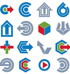 Abstract icons set simple corporate graphic design vector