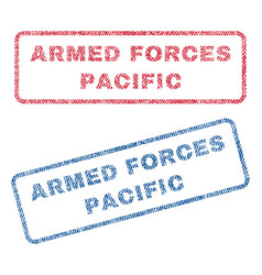 Armed forces pacific textile stamps vector