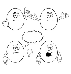 Black and white bored egg set vector image vector image
