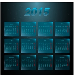 Calendar 2015 on the glass frosted panels vector