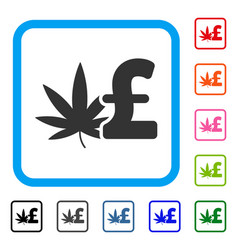 Cannabis pound business framed icon vector