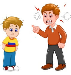 Cartoon father scolding his son vector