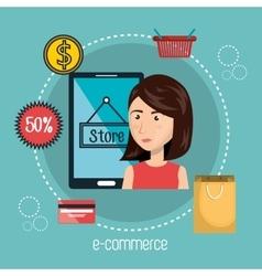 cartoon woman smartphone e-commerce isolated vector image