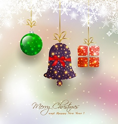 Christmas card with hanging bauble vector image vector image