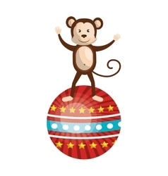 Circus monkey animal cartoon design vector