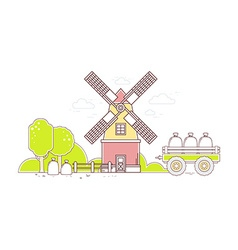 color gray and red windmill and yellow r vector image