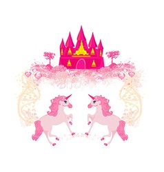 Fairytale landscape with pink magic castle and vector