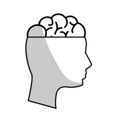 Figure mental health person with brain vector