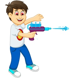 Funny boy cartoon playing water gun vector