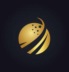 gold globe star logo vector image vector image