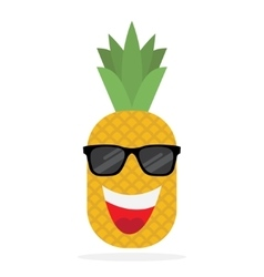 Happy pineapple in sun glasses vector