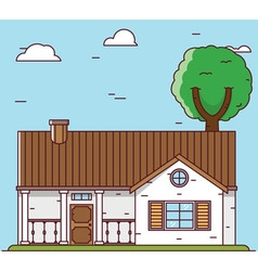 Linear flat house - elements for design vector image vector image
