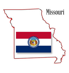 Missouri state map and flag vector
