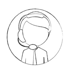 Monochrome sketch of circular frame with man call vector
