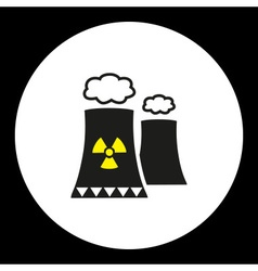 Nuclear power plant with chimney isolated black vector