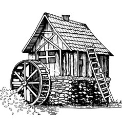 Old water mill engraving style vector