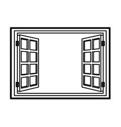 Open window frame wooden image vector