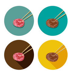 Piece of meat is holding with chopsticks vector