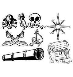 Pirate elements in black outline vector