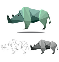 rhino polygon vector image