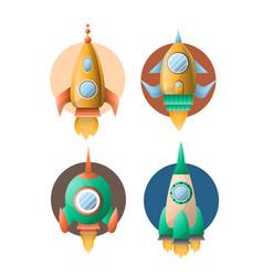rockets or spaceships retro cartoon flat vector image