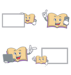 Set of open book character with board phone laptop vector