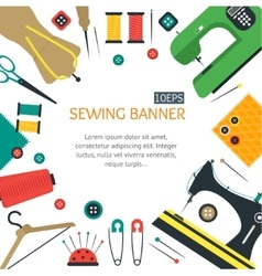 Sewing Banner Flat Design Style vector image vector image