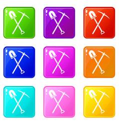 Shovel and pickaxe icons 9 set vector