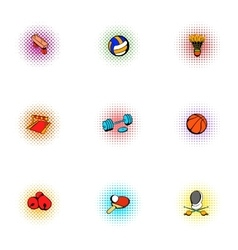 Sports equipment icons set pop-art style vector
