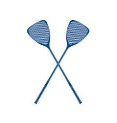 Two crossed fly swatters in blue design vector