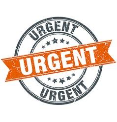 Urgent round orange grungy vintage isolated stamp vector
