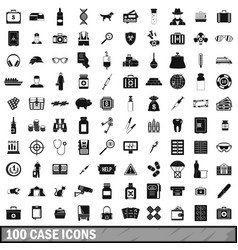 100 case icons set simple style vector