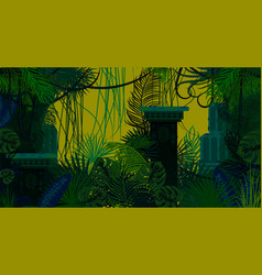 Abandoned ancient jungle nature background vector