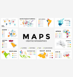 map infographic slide presentation global vector image