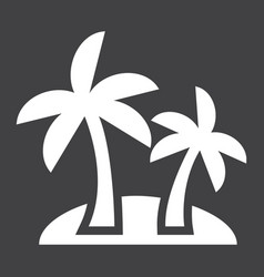 Island solid icon travel and tourism palm trees vector