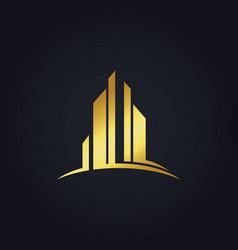 Gold modern building business finance logo vector