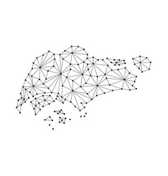 Singapore map of polygonal mosaic lines network vector