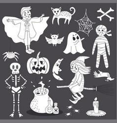 Cute doodle halloween ghost line art vector