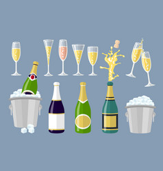 champagne bottle and glasses set of cartoon vector image