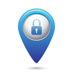 Map pointer with close lock icon vector