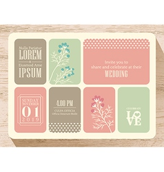 Cute pastel wedding invitation card background vector