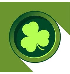 Button with light green shamrock vector