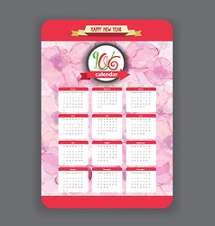 Blossoms calendar 2016 year design vector