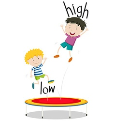 Two boys jumping on trampoline low and high vector