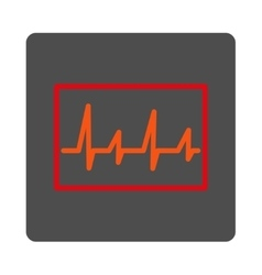 Ecg rounded square button vector