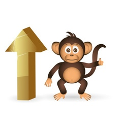 Cute chimpanzee little monkey and top up mark vector