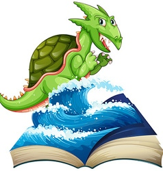 Sea monster coming out of the book vector