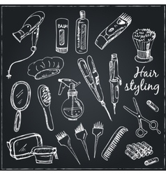 Collection of hand drawn tools for make-up and vector
